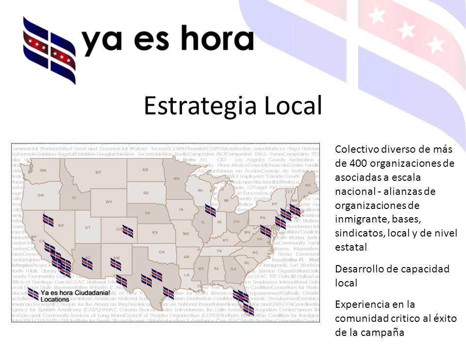 Estrategia Local Colectivo diverso de más de 400 organizaciones de asociadas a escala nacional - alianzas de organizaciones de inmigrante, bases, sindicatos, local y de nivel estatal Desarrollo de capacidad local Experiencia en la comunidad critico al éxito de la campaña