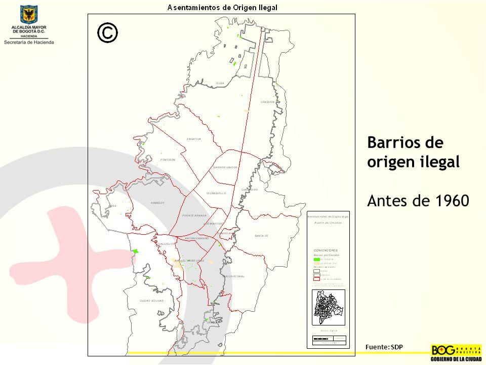 Barrios de origen ilegal Antes de 1960 Fuente: SDP