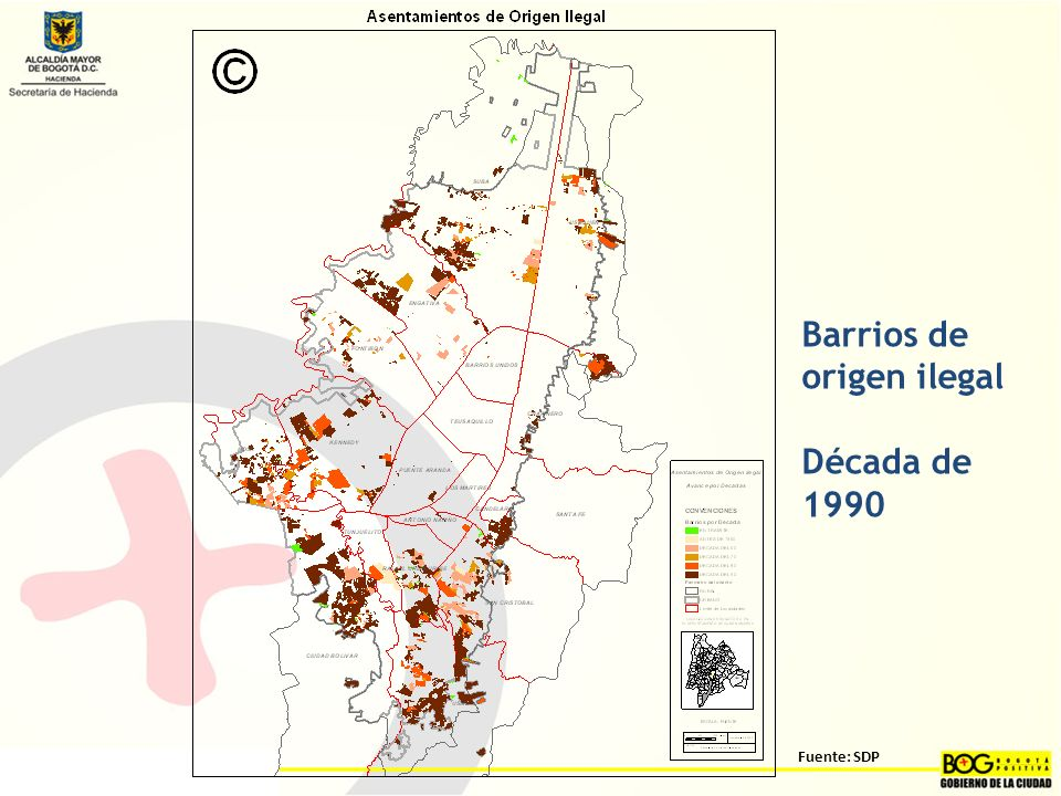 Barrios de origen ilegal Década de 1990 Fuente: SDP