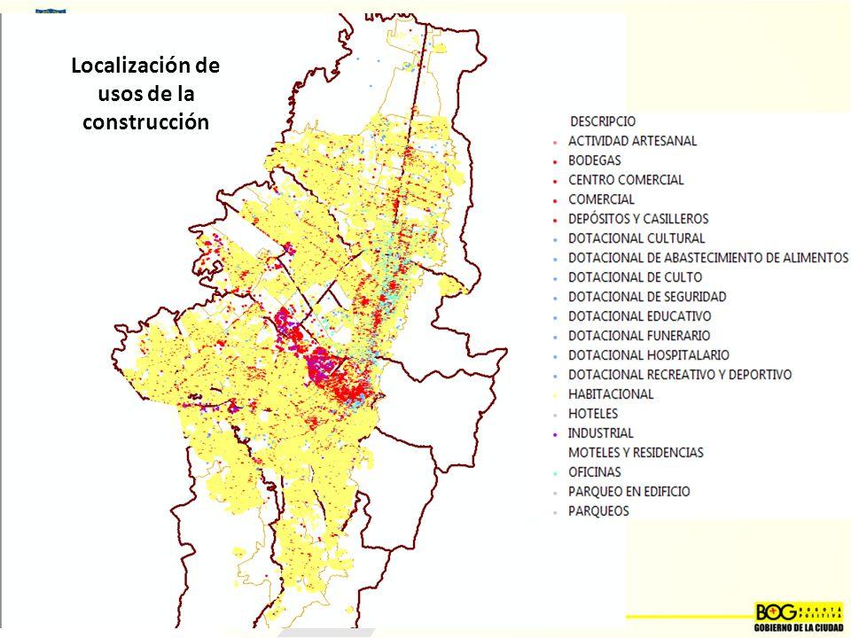 Localización de usos de la construcción