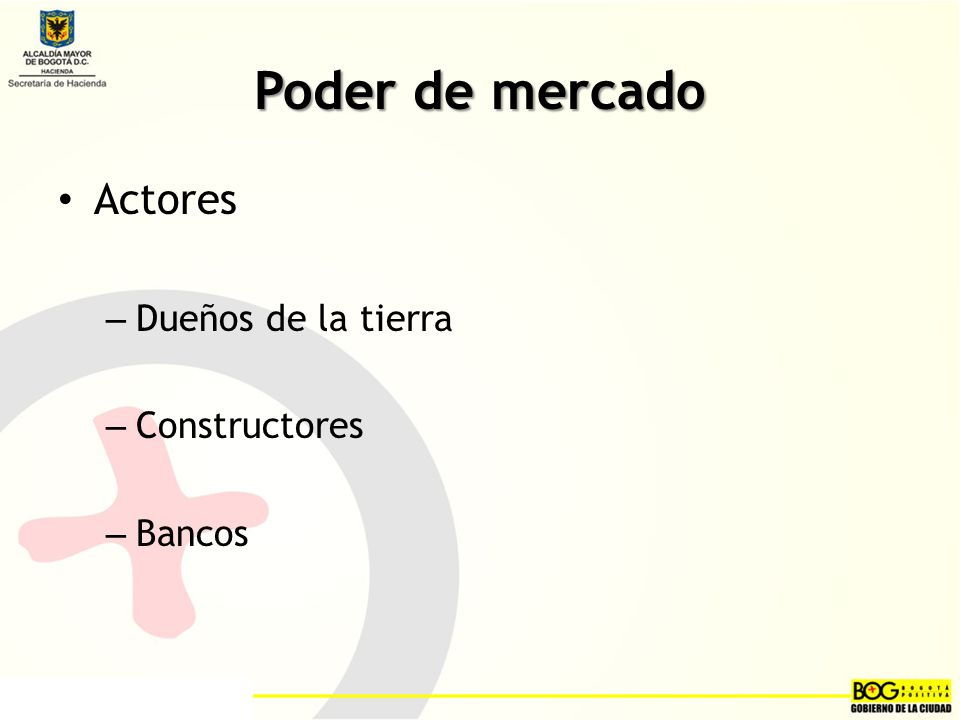 Poder de mercado Actores – Dueños de la tierra – Constructores – Bancos