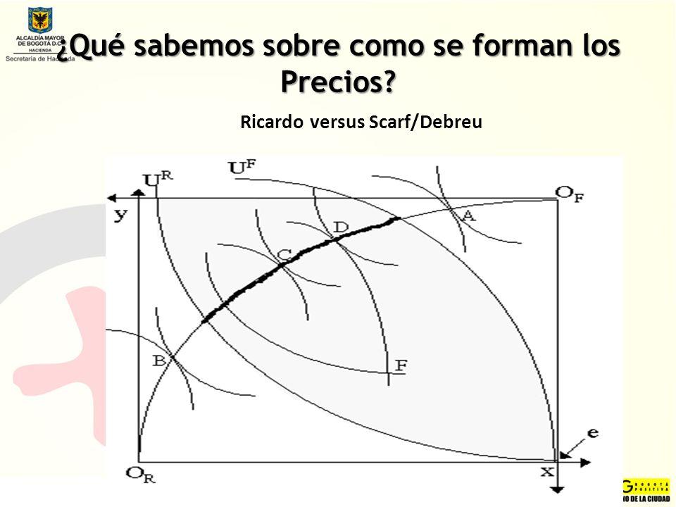 ¿Qué sabemos sobre como se forman los Precios? Ricardo versus Scarf/Debreu