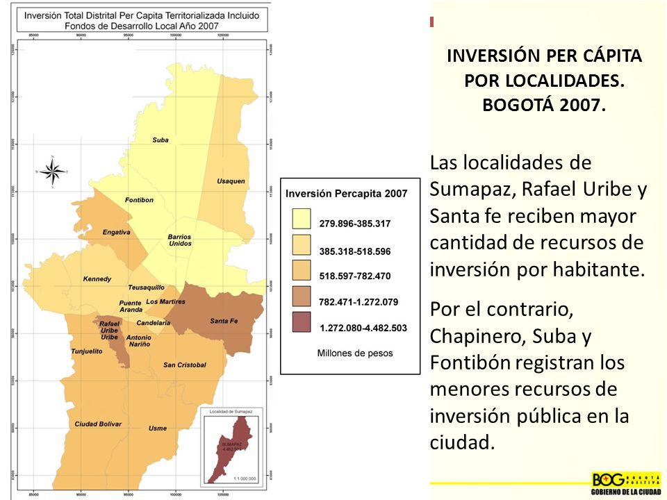 INVERSIÓN PER CÁPITA POR LOCALIDADES.BOGOTÁ 2007.