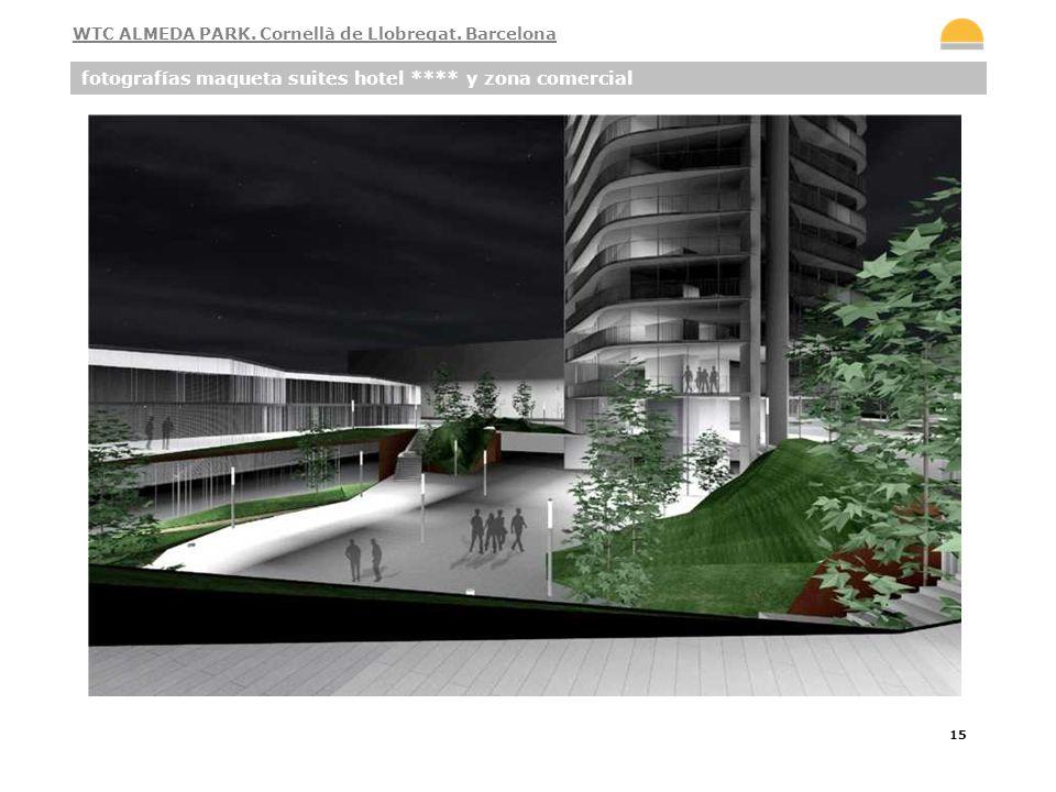 15 fotografías maqueta suites hotel **** y zona comercial WTC ALMEDA PARK. Cornellà de Llobregat. Barcelona