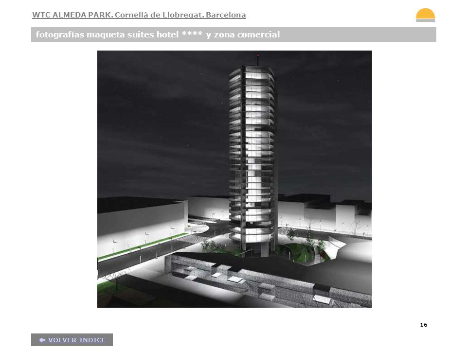16 fotografías maqueta suites hotel **** y zona comercial VOLVER INDICE WTC ALMEDA PARK. Cornellà de Llobregat. Barcelona