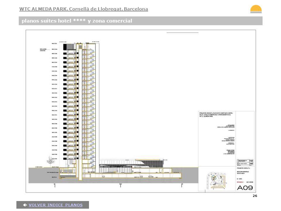 26 planos suites hotel **** y zona comercial VOLVER INDICE PLANOS WTC ALMEDA PARK. Cornellà de Llobregat. Barcelona