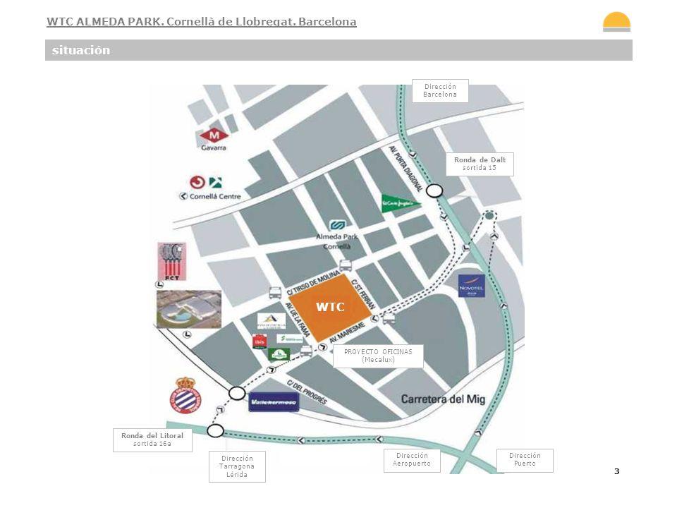 4 El Centro Internacional de negocios WTC ALMEDA PARK está situado en la zona perimetral de Barcelona, concretamente en Cornellà de Llobregat, a 5 minutos del aeropuerto y a 10 minutos en coche del centro de la ciudad y de la estación del AVE.
