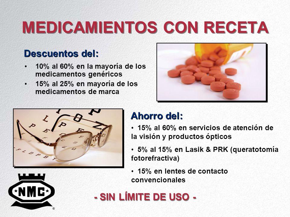 MEDICAMIENTOS CON RECETA 10% al 60% en la mayoría de los medicamentos genéricos 15% al 25% en mayoría de los medicamentos de marca Descuentos del: Aho