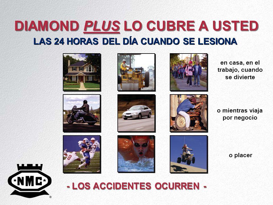 DIAMOND PLUS LO CUBRE A USTED - LOS ACCIDENTES OCURREN - LAS 24 HORAS DEL DÍA CUANDO SE LESIONA en casa, en el trabajo, cuando se divierte o mientras