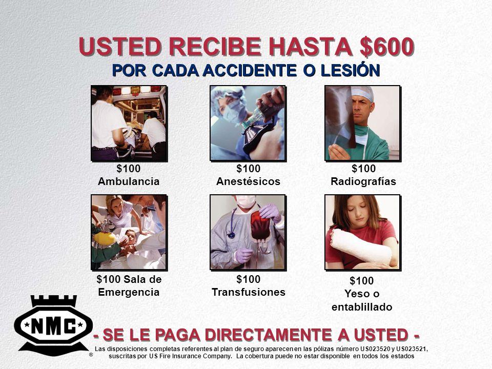 USTED RECIBE HASTA $600 POR CADA ACCIDENTE O LESIÓN - SE LE PAGA DIRECTAMENTE A USTED - $100 Ambulancia $100 Anestésicos $100 Radiografías $100 Sala d