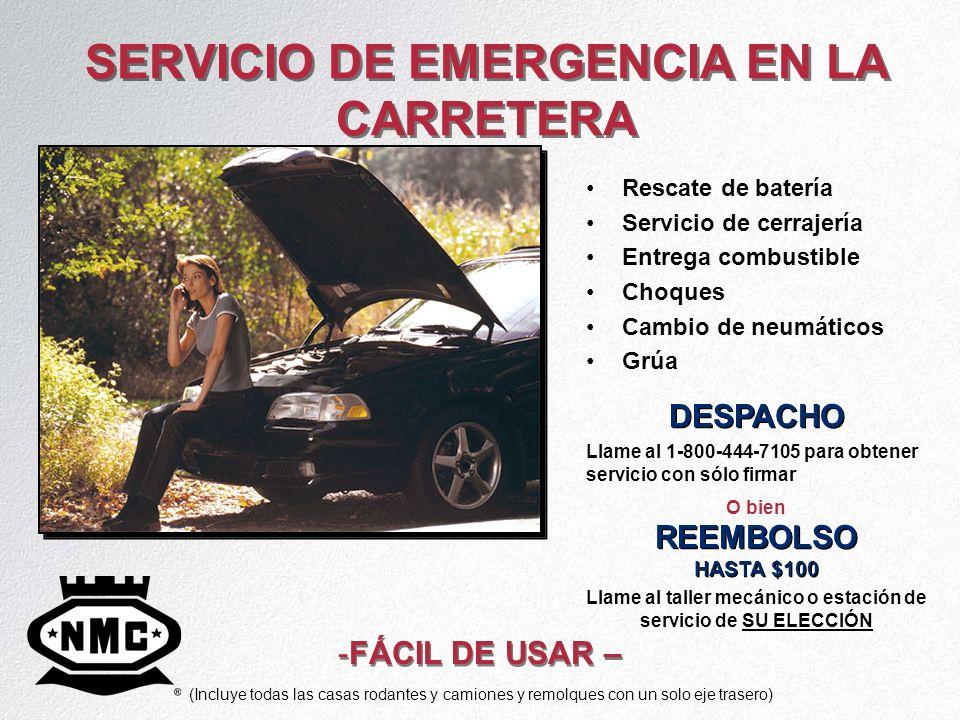 SERVICIO DE EMERGENCIA EN LA CARRETERA Rescate de batería Servicio de cerrajería Entrega combustible Choques Cambio de neumáticos Grúa DESPACHO Llame