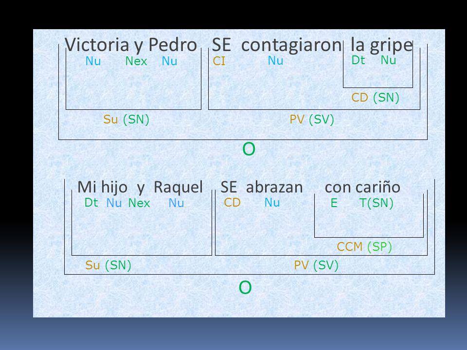Victoria y Pedro SE contagiaron la gripe Mi hijo y Raquel SE abrazan con cariño O Su (SN)PV (SV) NuCI Nu O Su (SN) Nu PV (SV) Nu Dt Nex CD DtNu CD (SN