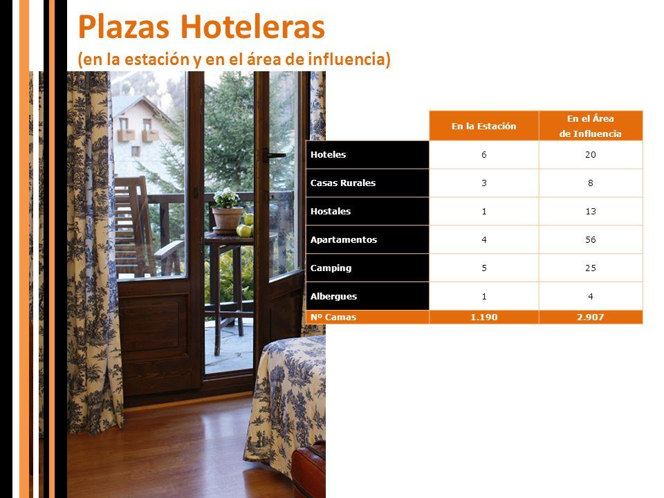 Plazas Hoteleras (en la estación y en el área de influencia) En la Estación En el Área de Influencia Hoteles620 Casas Rurales38 Hostales113 Apartament
