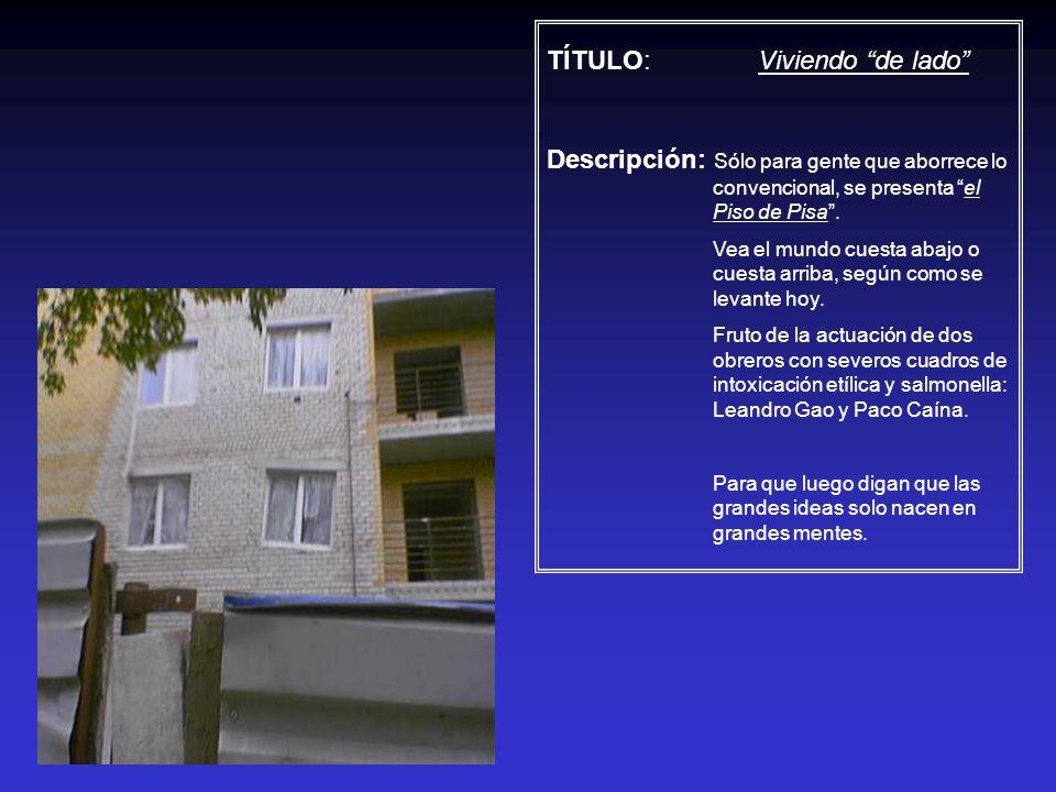 TÍTULO: Viviendo de lado Descripción: Sólo para gente que aborrece lo convencional, se presenta el Piso de Pisa. Vea el mundo cuesta abajo o cuesta ar