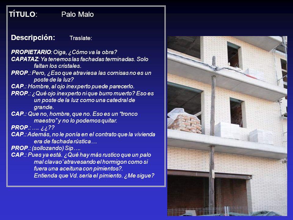 TÍTULO: Palo Malo Descripción: Traslate: PROPIETARIO: Oiga, ¿Cómo va la obra? CAPATAZ: Ya tenemos las fachadas terminadas. Solo faltan los cristales.