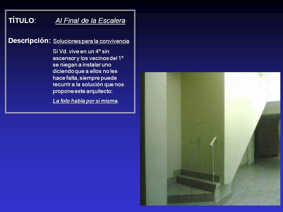 TÍTULO: Al Final de la Escalera Descripción: Soluciones para la convivencia Si Vd. vive en un 4º sin ascensor y los vecinos del 1º se niegan a instala