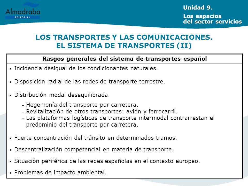 LOS TRANSPORTES Y LAS COMUNICACIONES. EL SISTEMA DE TRANSPORTES (II) Rasgos generales del sistema de transportes español Incidencia desigual de los co