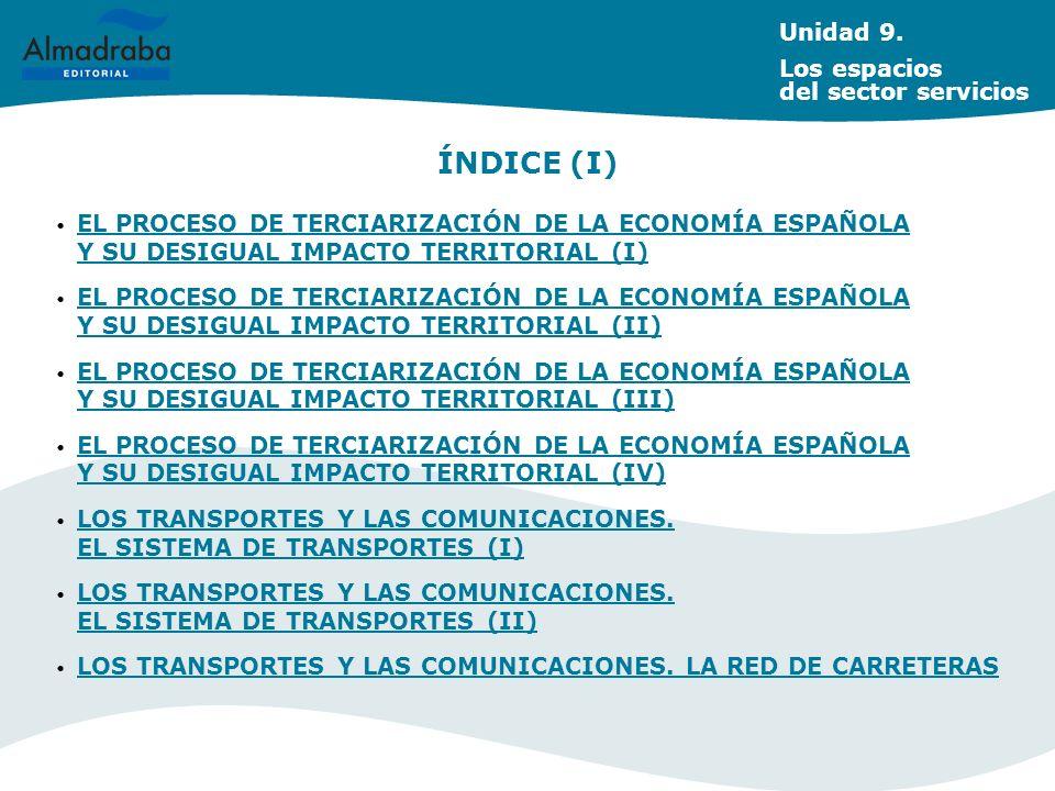 Unidad 9. Los espacios del sector servicios EL PROCESO DE TERCIARIZACIÓN DE LA ECONOMÍA ESPAÑOLA Y SU DESIGUAL IMPACTO TERRITORIAL (I) EL PROCESO DE T