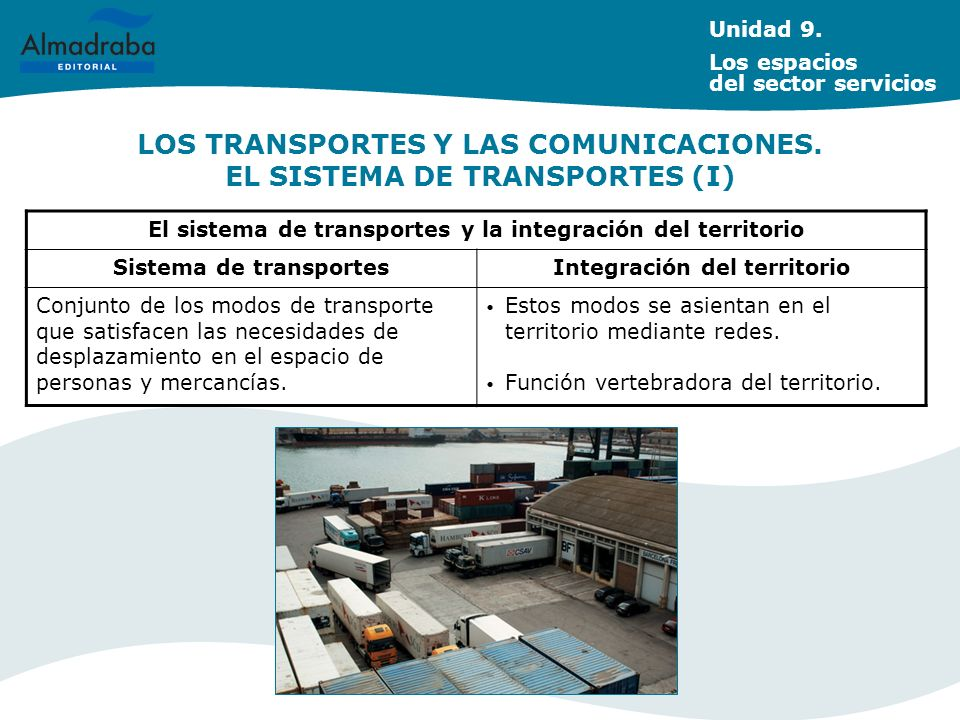 LOS TRANSPORTES Y LAS COMUNICACIONES. EL SISTEMA DE TRANSPORTES (I) Unidad 9. Los espacios del sector servicios El sistema de transportes y la integra