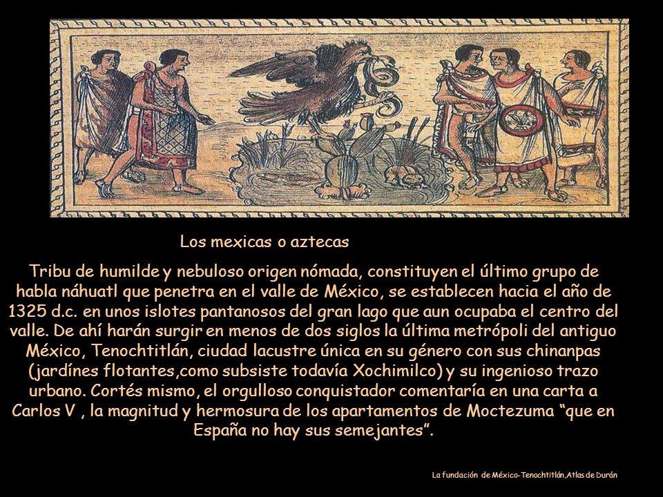 Los mexicas o aztecas Tribu de humilde y nebuloso origen nómada, constituyen el último grupo de habla náhuatl que penetra en el valle de México, se establecen hacia el año de 1325 d.c.