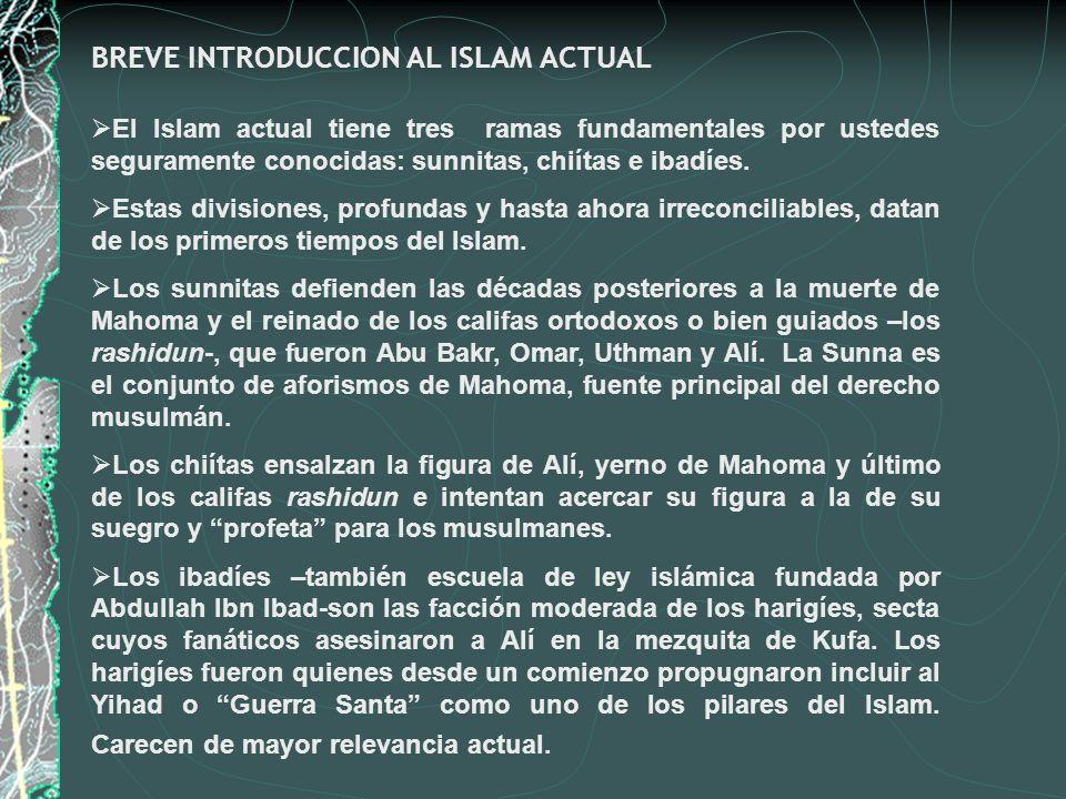 BREVE INTRODUCCION AL ISLAM ACTUAL El Islam actual tiene tres ramas fundamentales por ustedes seguramente conocidas: sunnitas, chiítas e ibadíes. Esta