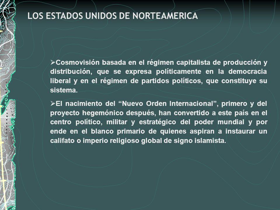 LOS ESTADOS UNIDOS DE NORTEAMERICA Cosmovisión basada en el régimen capitalista de producción y distribución, que se expresa políticamente en la democ