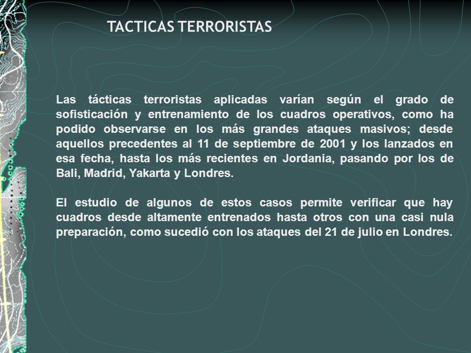 Las tácticas terroristas aplicadas varían según el grado de sofisticación y entrenamiento de los cuadros operativos, como ha podido observarse en los
