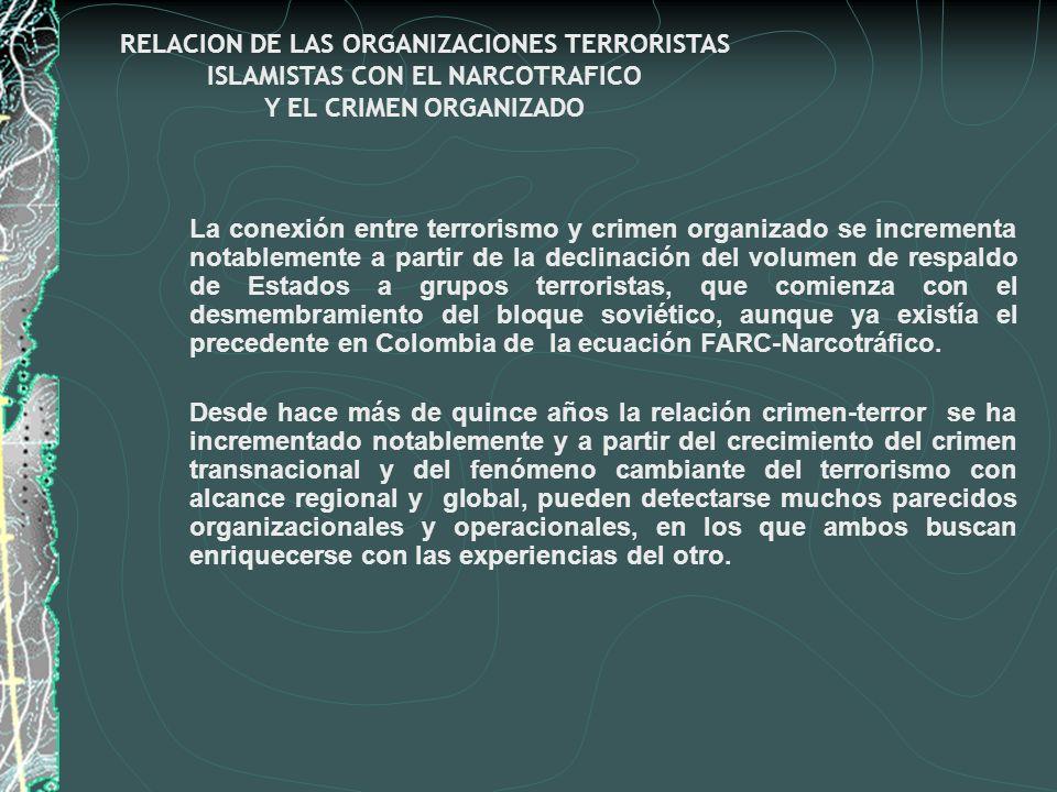 RELACION DE LAS ORGANIZACIONES TERRORISTAS ISLAMISTAS CON EL NARCOTRAFICO Y EL CRIMEN ORGANIZADO La conexión entre terrorismo y crimen organizado se i
