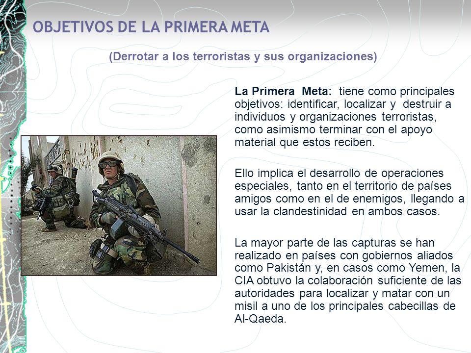 OBJETIVOS DE LA PRIMERA META (Derrotar a los terroristas y sus organizaciones) La Primera Meta: tiene como principales objetivos: identificar, localiz