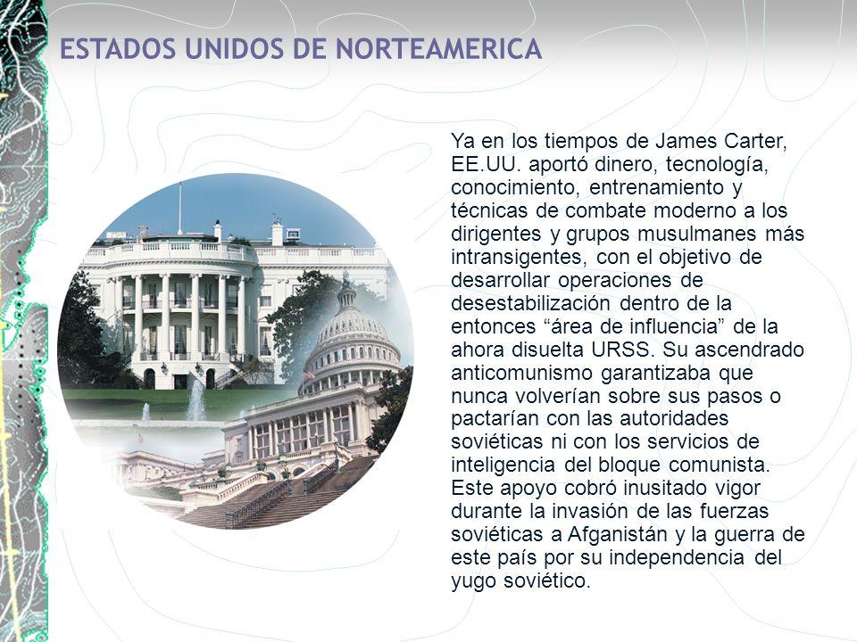 ESTADOS UNIDOS DE NORTEAMERICA Ya en los tiempos de James Carter, EE.UU. aportó dinero, tecnología, conocimiento, entrenamiento y técnicas de combate