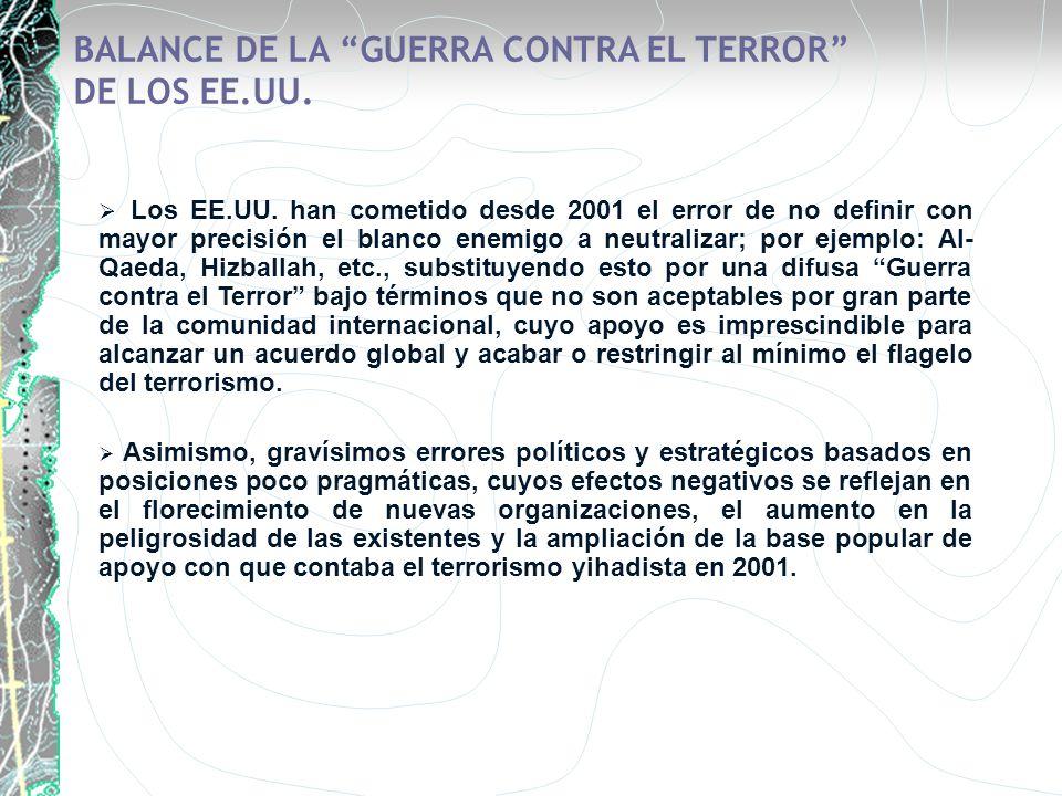 BALANCE DE LA GUERRA CONTRA EL TERROR DE LOS EE.UU. Los EE.UU. han cometido desde 2001 el error de no definir con mayor precisión el blanco enemigo a