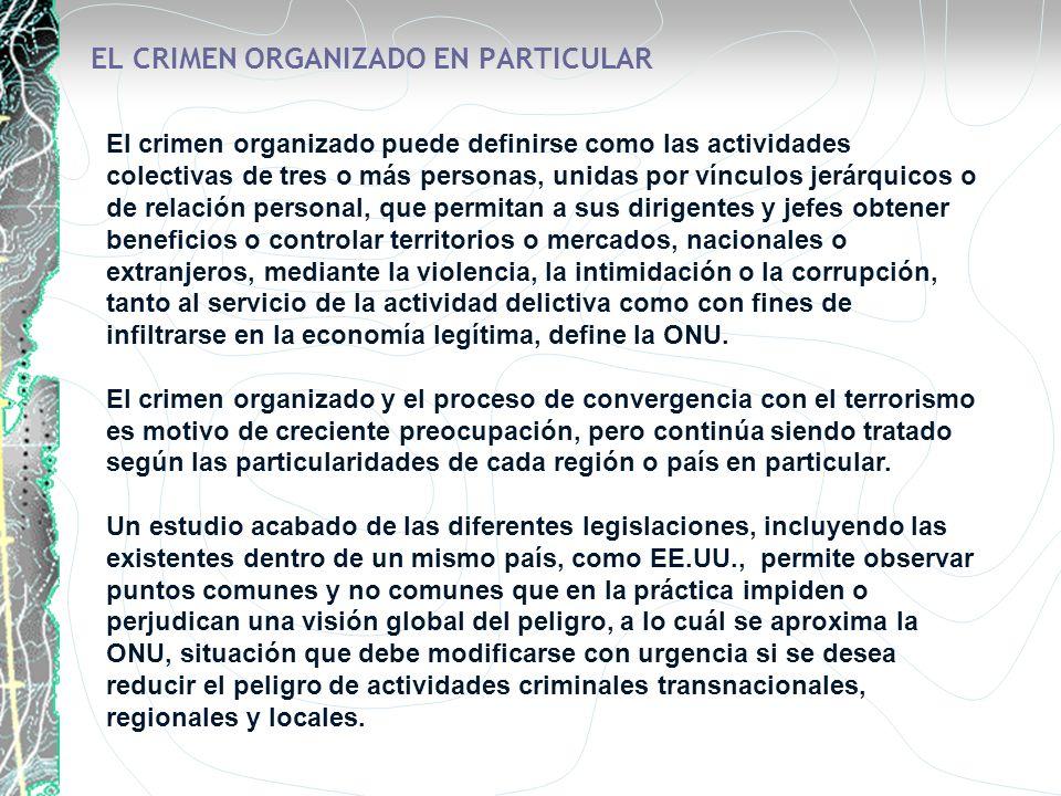 EL CRIMEN ORGANIZADO EN PARTICULAR El crimen organizado puede definirse como las actividades colectivas de tres o más personas, unidas por vínculos je
