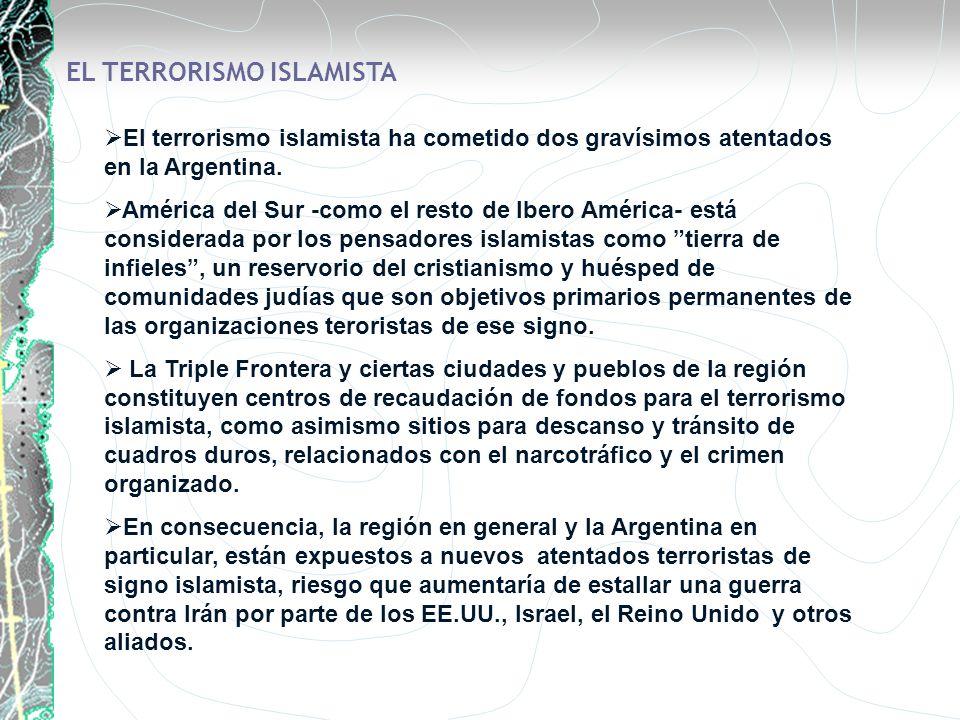 EL TERRORISMO ISLAMISTA El terrorismo islamista ha cometido dos gravísimos atentados en la Argentina. América del Sur -como el resto de Ibero América-