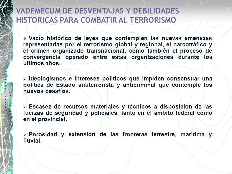 VADEMECUM DE DESVENTAJAS Y DEBILIDADES HISTORICAS PARA COMBATIR AL TERRORISMO Vacío histórico de leyes que contemplen las nuevas amenazas representada