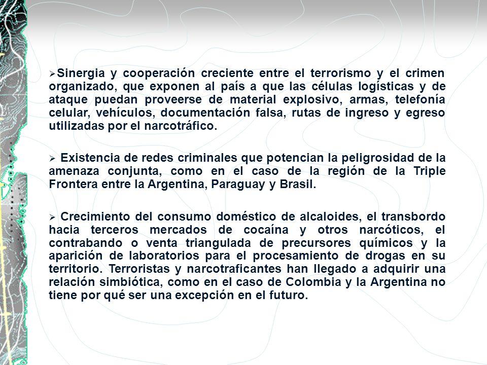 Sinergia y cooperación creciente entre el terrorismo y el crimen organizado, que exponen al país a que las células logísticas y de ataque puedan prove