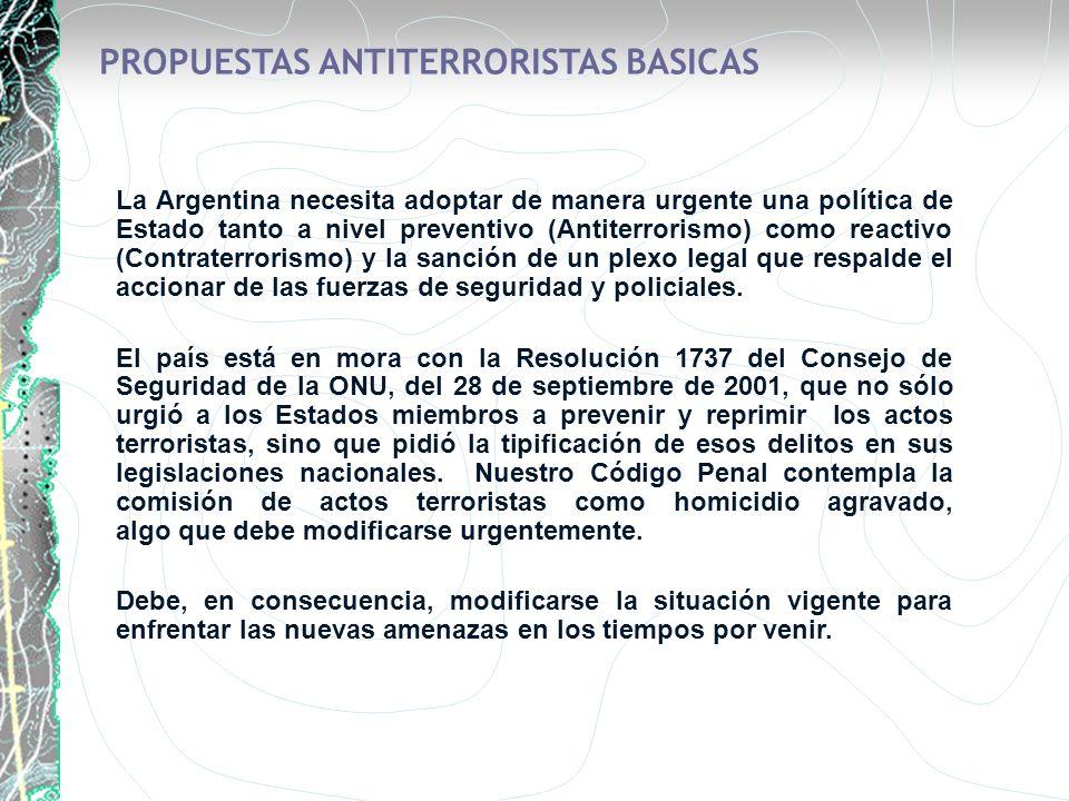 PROPUESTAS ANTITERRORISTAS BASICAS La Argentina necesita adoptar de manera urgente una política de Estado tanto a nivel preventivo (Antiterrorismo) co