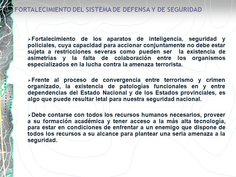 FORTALECIMIENTO DEL SISTEMA DE DEFENSA Y DE SEGURIDAD Fortalecimiento de los aparatos de inteligencia, seguridad y policiales, cuya capacidad para acc