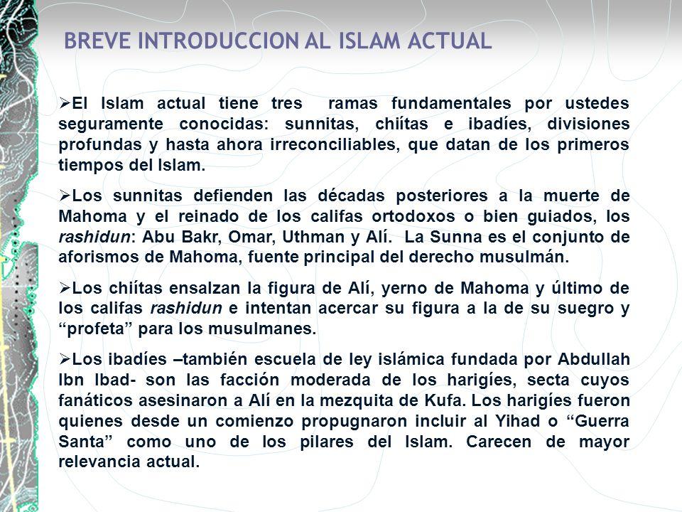 BREVE INTRODUCCION AL ISLAM ACTUAL El Islam actual tiene tres ramas fundamentales por ustedes seguramente conocidas: sunnitas, chiítas e ibadíes, divi