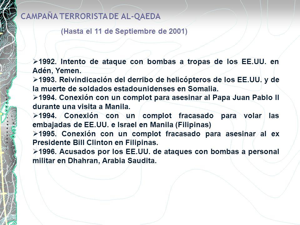 CAMPAÑA TERRORISTA DE AL-QAEDA (Hasta el 11 de Septiembre de 2001) 1992. Intento de ataque con bombas a tropas de los EE.UU. en Adén, Yemen. 1993. Rei