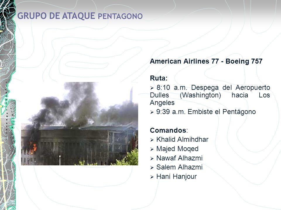 GRUPO DE ATAQUE PENTAGONO American Airlines 77 - Boeing 757 Ruta: 8:10 a.m. Despega del Aeropuerto Dulles (Washington) hacia Los Angeles 9:39 a.m. Emb