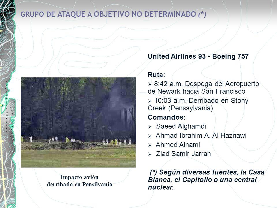 GRUPO DE ATAQUE A OBJETIVO NO DETERMINADO (*) United Airlines 93 - Boeing 757 Ruta: 8:42 a.m. Despega del Aeropuerto de Newark hacia San Francisco 10:
