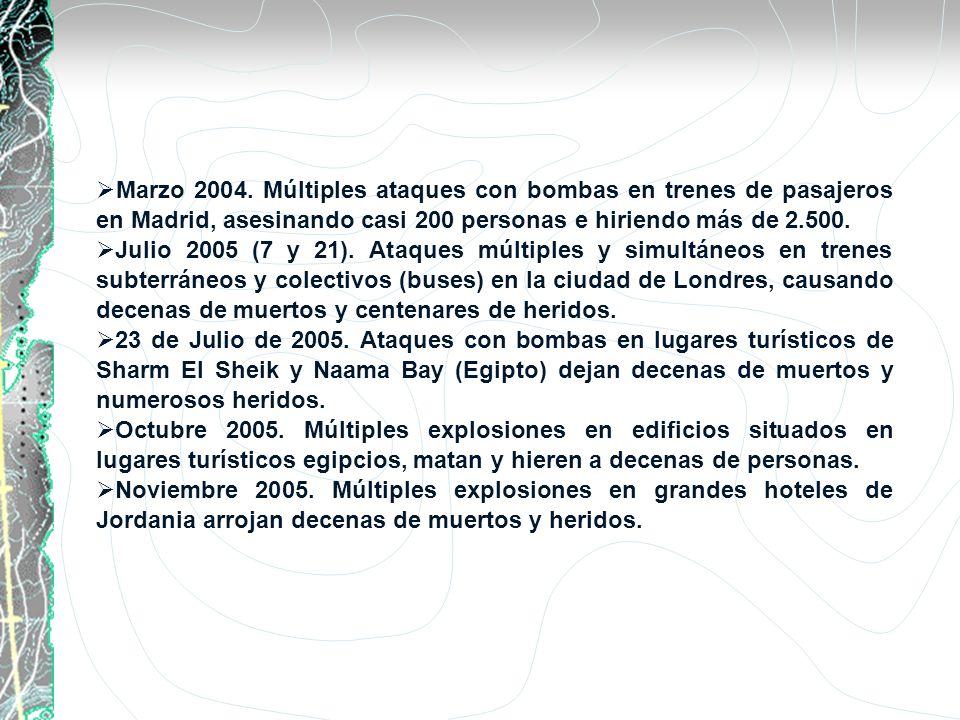 Marzo 2004. Múltiples ataques con bombas en trenes de pasajeros en Madrid, asesinando casi 200 personas e hiriendo más de 2.500. Julio 2005 (7 y 21).