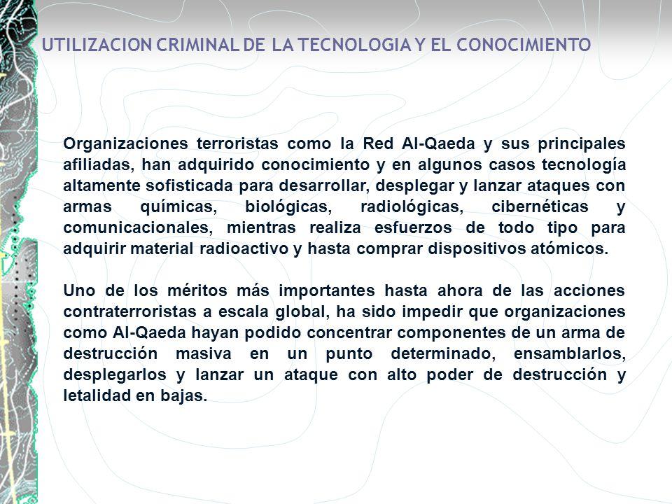 Organizaciones terroristas como la Red Al-Qaeda y sus principales afiliadas, han adquirido conocimiento y en algunos casos tecnología altamente sofist