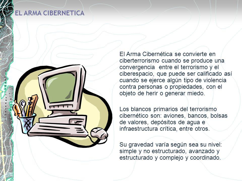 EL ARMA CIBERNETICA El Arma Cibernética se convierte en ciberterrorismo cuando se produce una convergencia entre el terrorismo y el ciberespacio, que