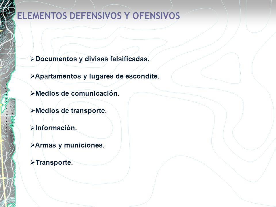 Documentos y divisas falsificadas. Apartamentos y lugares de escondite. Medios de comunicación. Medios de transporte. Información. Armas y municiones.