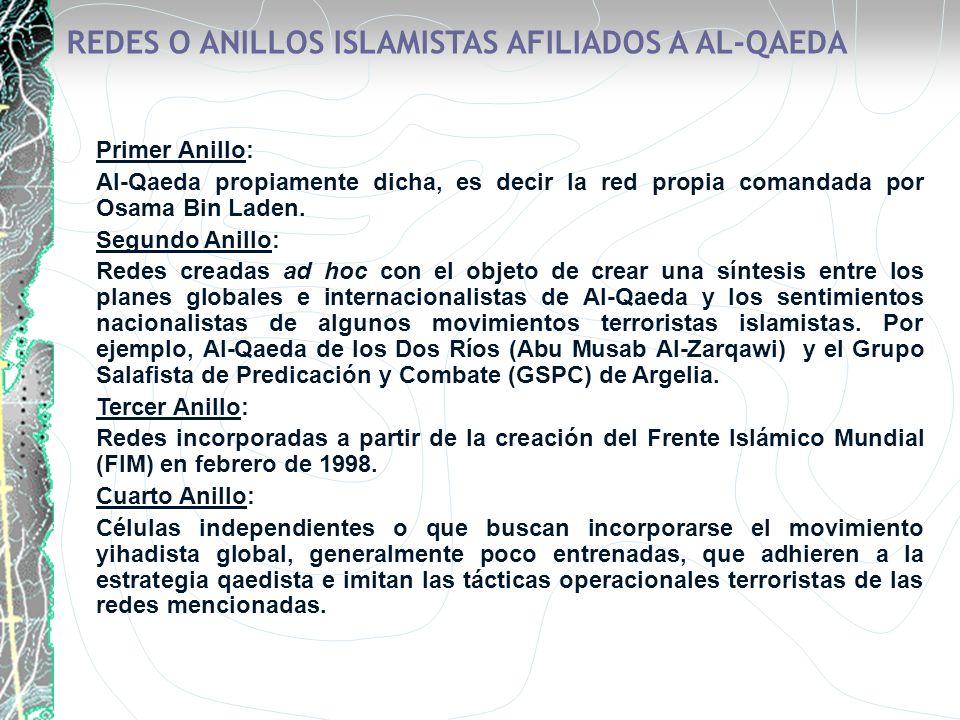 REDES O ANILLOS ISLAMISTAS AFILIADOS A AL-QAEDA Primer Anillo: Al-Qaeda propiamente dicha, es decir la red propia comandada por Osama Bin Laden. Segun