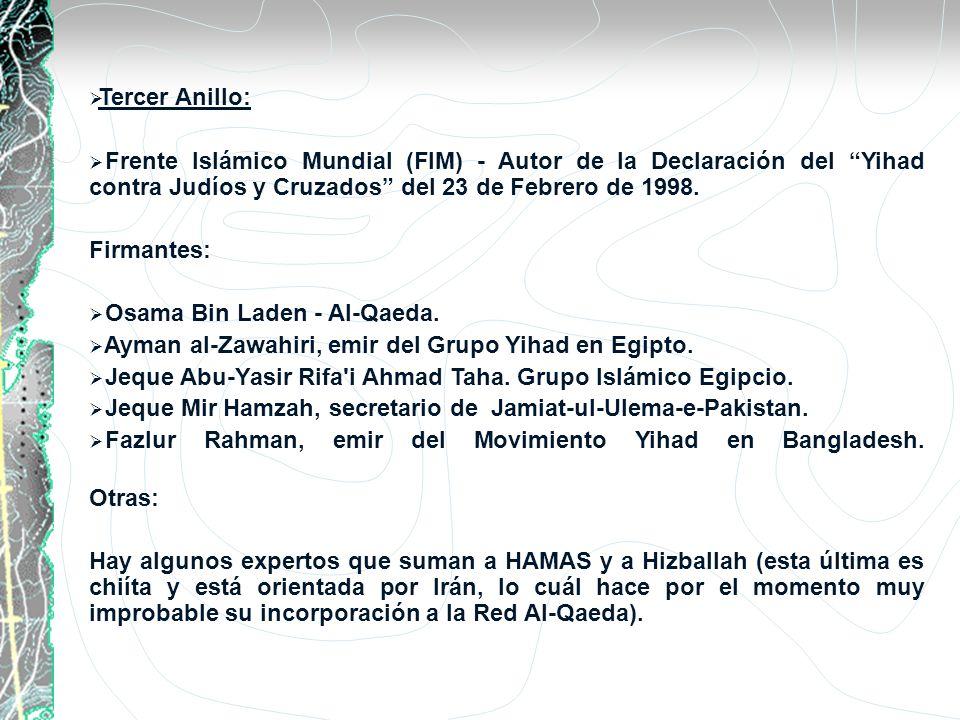 Tercer Anillo: Frente Islámico Mundial (FIM) - Autor de la Declaración del Yihad contra Judíos y Cruzados del 23 de Febrero de 1998. Firmantes: Osama