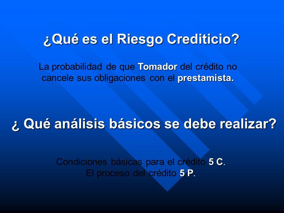 ¿Qué es el Riesgo Crediticio? 5 C Condiciones básicas para el crédito 5 C. 5 P El proceso del crédito 5 P. ¿ Qué análisis básicos se debe realizar? ¿