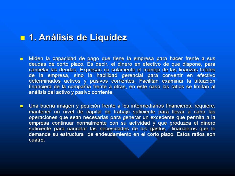 1. Análisis de Liquidez 1. Análisis de Liquidez Miden la capacidad de pago que tiene la empresa para hacer frente a sus deudas de corto plazo. Es deci