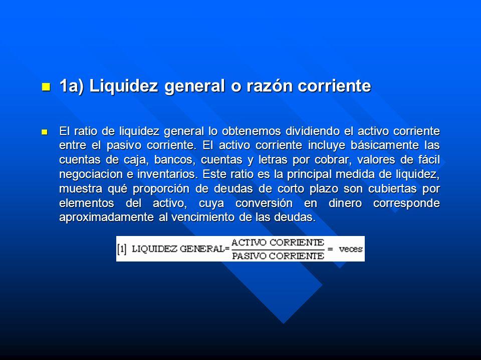 1a) Liquidez general o razón corriente 1a) Liquidez general o razón corriente El ratio de liquidez general lo obtenemos dividiendo el activo corriente